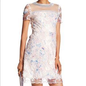 T Tahari grace dress pink blue floral lace short 4